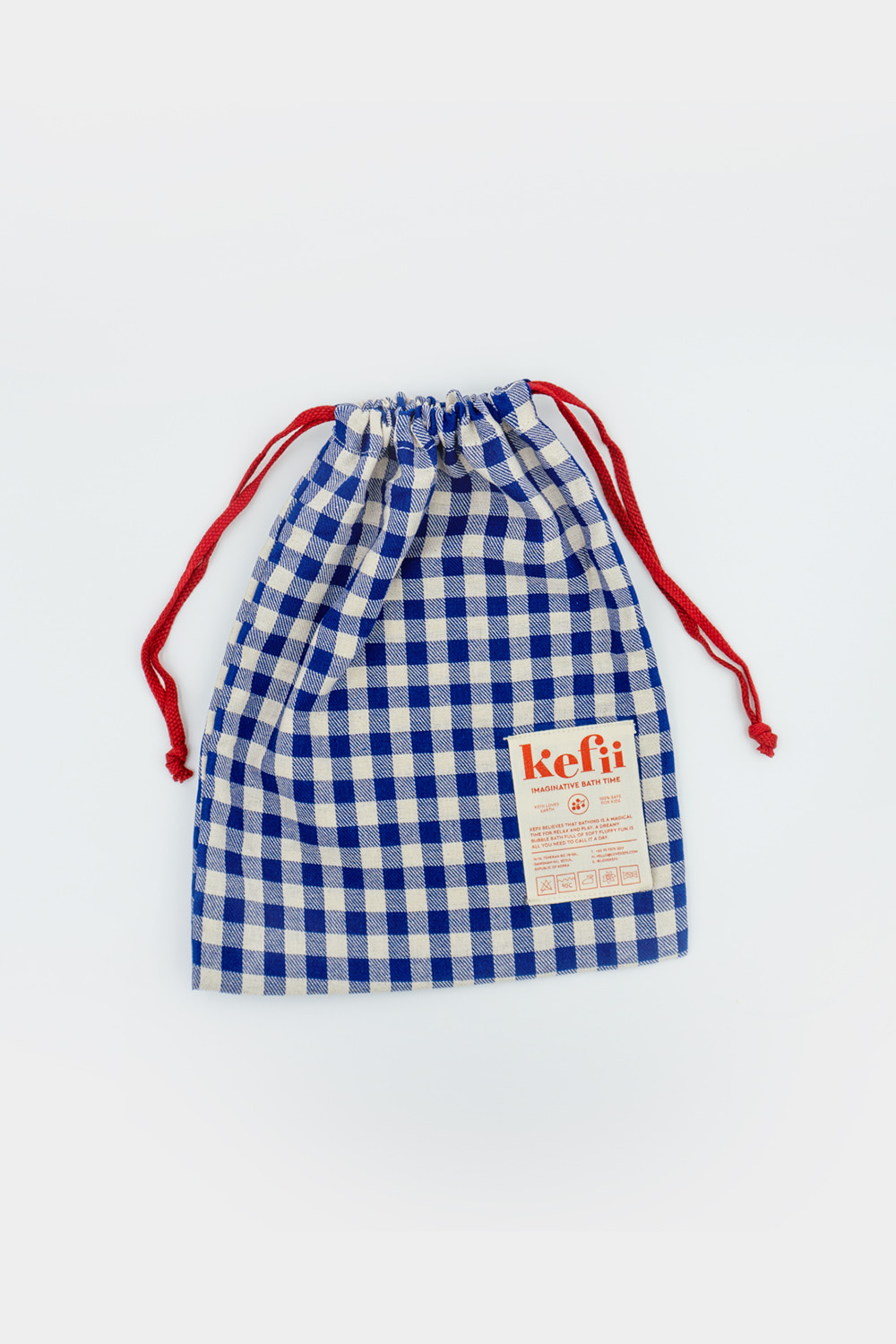 Basic Fabric Pouch - Royal Blue Gingham